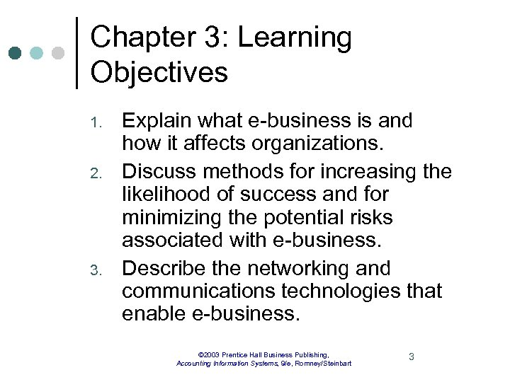 Chapter 3: Learning Objectives 1. 2. 3. Explain what e-business is and how it