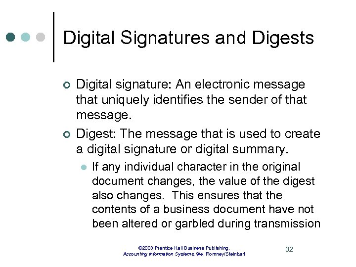 Digital Signatures and Digests ¢ ¢ Digital signature: An electronic message that uniquely identifies