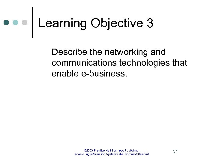 Learning Objective 3 Describe the networking and communications technologies that enable e-business. © 2003