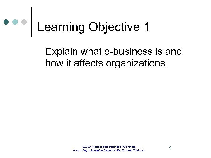 Learning Objective 1 Explain what e-business is and how it affects organizations. © 2003