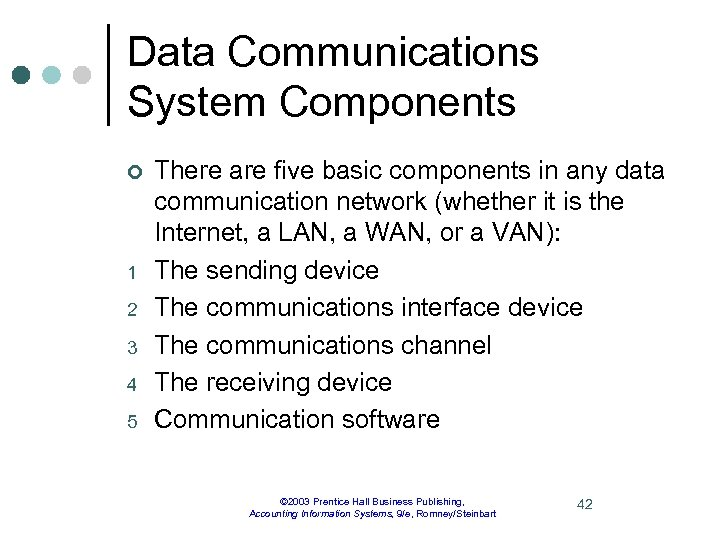Data Communications System Components ¢ 1 2 3 4 5 There are five basic