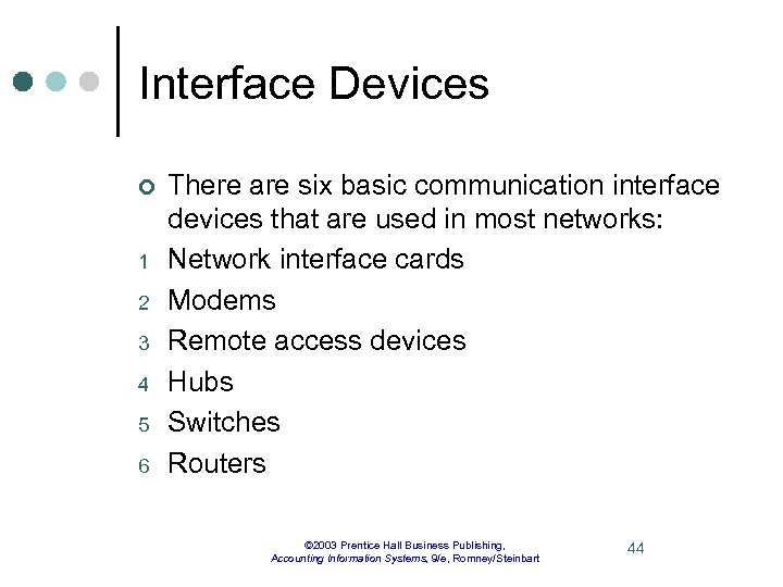 Interface Devices ¢ 1 2 3 4 5 6 There are six basic communication