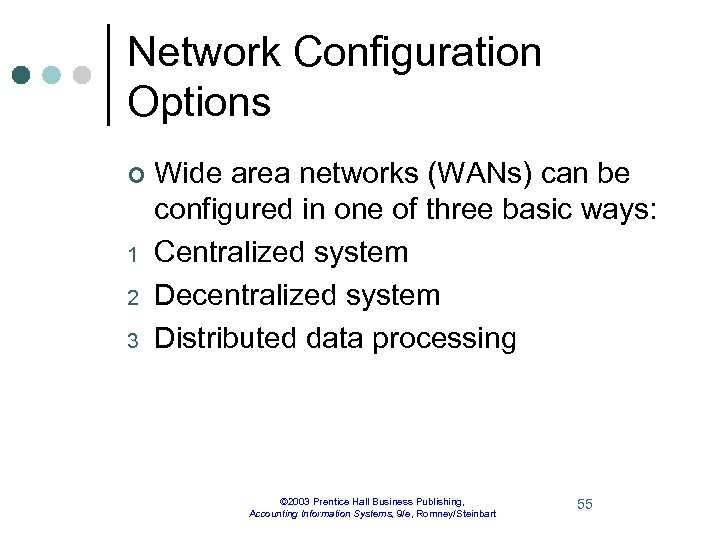 Network Configuration Options ¢ 1 2 3 Wide area networks (WANs) can be configured