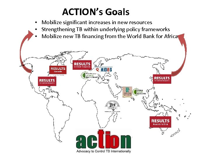 ACTION's Goals • Mobilize significant increases in new resources • Strengthening TB within underlying