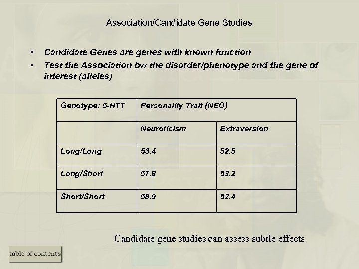 Association/Candidate Gene Studies • • Candidate Genes are genes with known function Test the