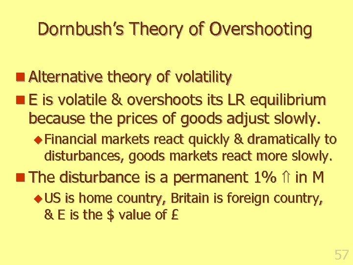 Dornbush's Theory of Overshooting n Alternative theory of volatility n E is volatile &