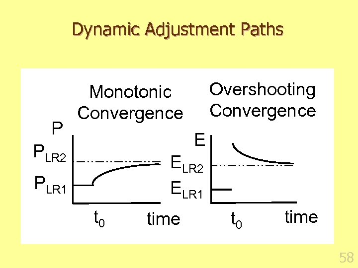 Dynamic Adjustment Paths P Overshooting Convergence Monotonic Convergence E PLR 2 ELR 1 PLR