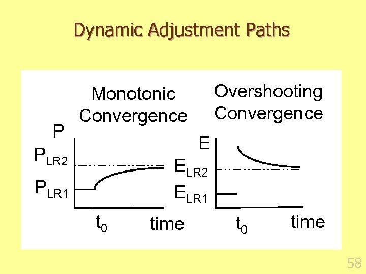 Dynamic Adjustment Paths P Overshooting Convergence Monotonic Convergence E PLR 2 ELR 1 PLR