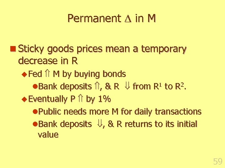 Permanent in M n Sticky goods prices mean a temporary decrease in R M