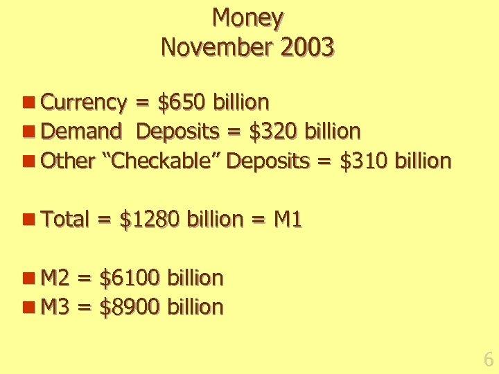 Money November 2003 n Currency = $650 billion n Demand Deposits = $320 billion