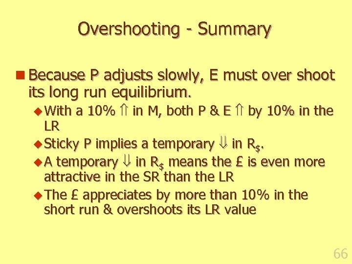 Overshooting - Summary n Because P adjusts slowly, E must over shoot its long
