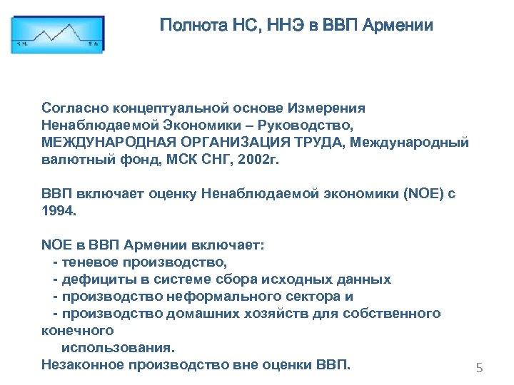 Полнота НС, ННЭ в ВВП Армении Согласно концептуальной основе Измерения Ненаблюдаемой Экономики – Руководство,