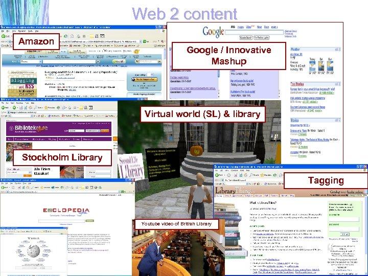 Web 2 content Amazon Google / Innovative Mashup Virtual world (SL) & library Stockholm
