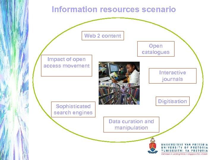 Information resources scenario Web 2 content Open catalogues Impact of open access movement Interactive