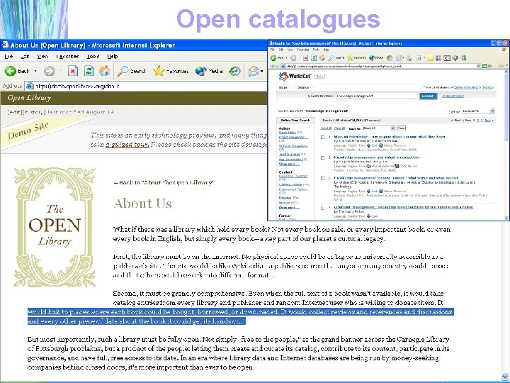 Open catalogues