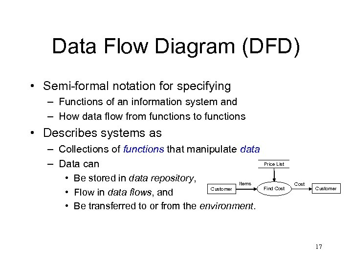 Data Flow Diagram (DFD) • Semi-formal notation for specifying – Functions of an information