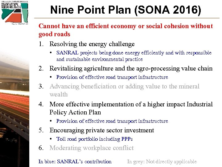 Nine Point Plan (SONA 2016) Cannot have an efficient economy or social cohesion without