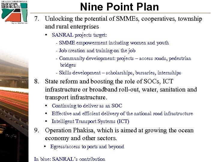 Nine Point Plan 7. Unlocking the potential of SMMEs, cooperatives, township and rural enterprises