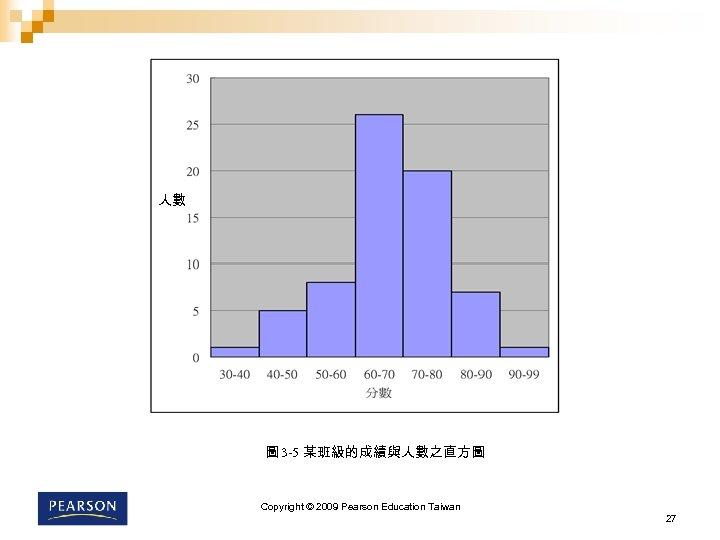 人數 圖 3 -5 某班級的成績與人數之直方圖 Copyright © 2009 Pearson Education Taiwan 27