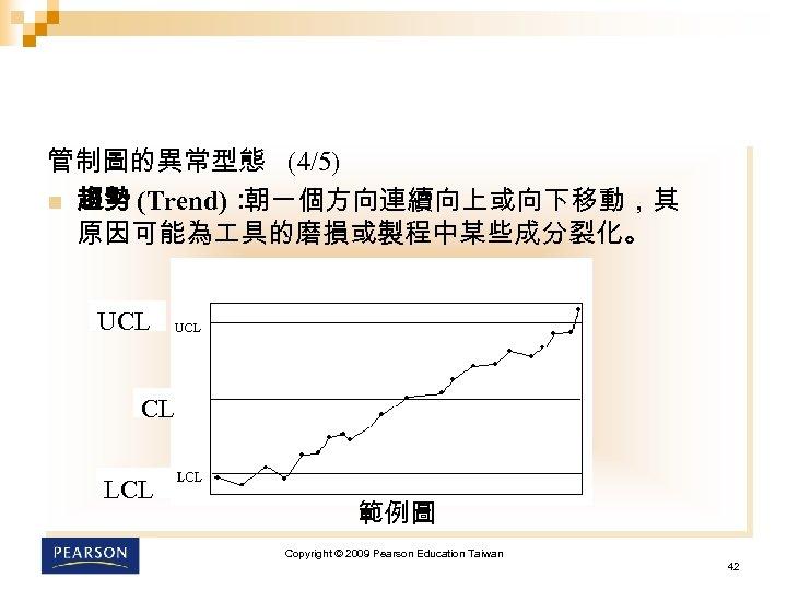 管制圖的異常型態 (4/5) n 趨勢 (Trend): 朝一個方向連續向上或向下移動,其 原因可能為 具的磨損或製程中某些成分裂化。 UCL CL LCL 範例圖 Copyright ©