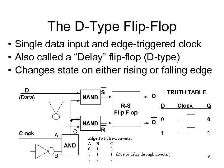 The D-Type Flip-Flop • Single data input and edge-triggered clock • Also called a