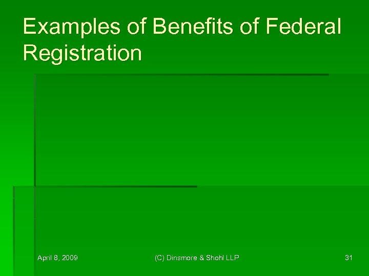 Examples of Benefits of Federal Registration April 8, 2009 (C) Dinsmore & Shohl LLP