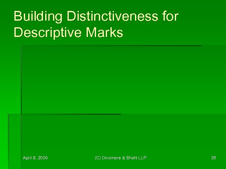 Building Distinctiveness for Descriptive Marks April 8, 2009 (C) Dinsmore & Shohl LLP 35