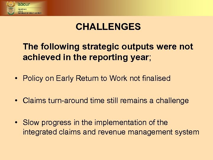 CHALLENGES The following strategic outputs were not achieved in the reporting year; • Policy