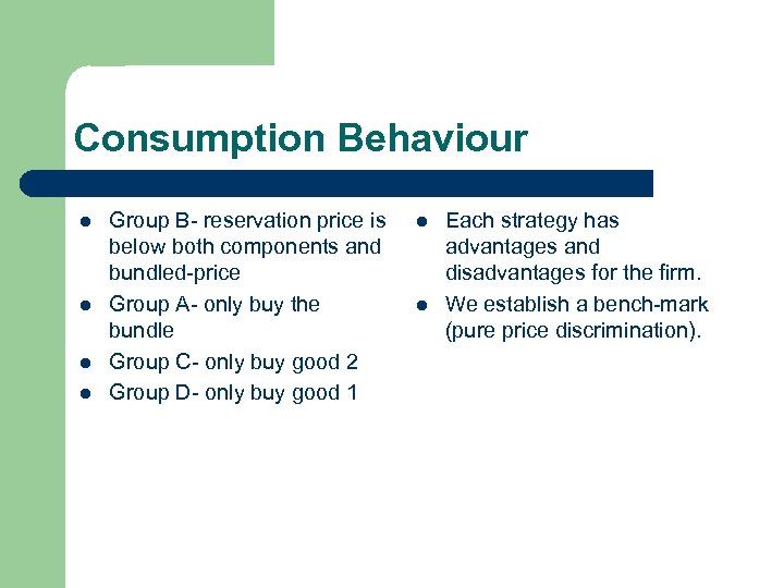 Consumption Behaviour l l Group B- reservation price is below both components and bundled-price