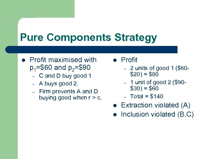 Pure Components Strategy l Profit maximised with p 1=$60 and p 2=$90 – –