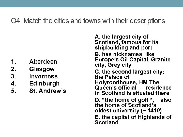 Q 4 Match the cities and towns with their descriptions 1. 2. 3. 4.