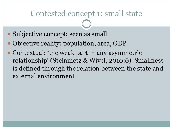 Contested concept 1: small state Subjective concept: seen as small Objective reality: population, area,