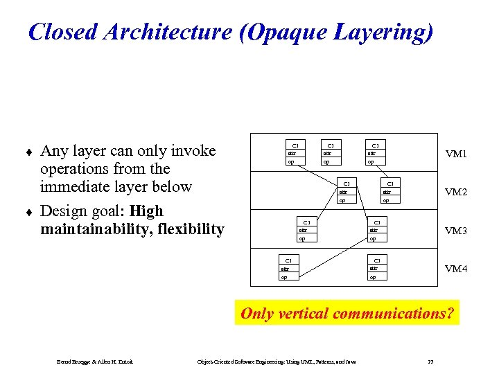 Closed Architecture (Opaque Layering) ¨ ¨ Any layer can only invoke operations from the
