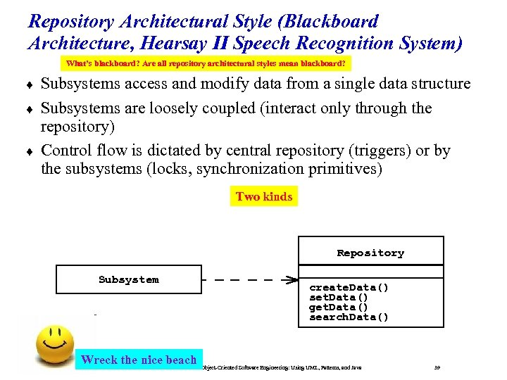 Repository Architectural Style (Blackboard Architecture, Hearsay II Speech Recognition System) What's blackboard? Are all