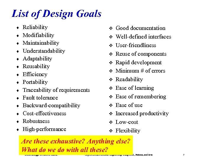 List of Design Goals ¨ ¨ ¨ ¨ Reliability Modifiability Maintainability Understandability Adaptability Reusability
