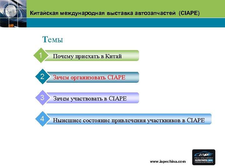 Китайская международная выставка автозапчастей (CIAPE) Tемы 1 Почему приехать в Китай 2 Зачем организовать