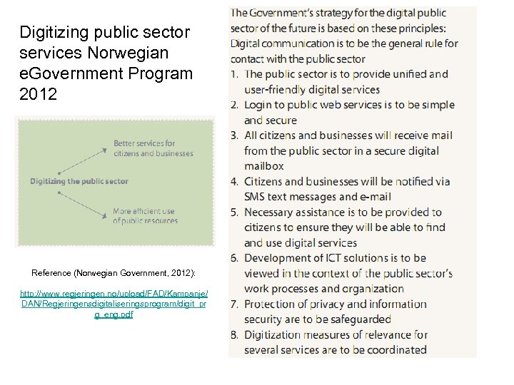 Digitizing public sector services Norwegian e. Government Program 2012 Reference (Norwegian Government, 2012): http: