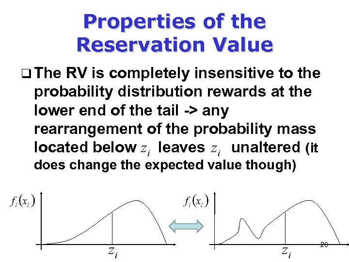 Properties of the Reservation Value q The RV is completely insensitive to the probability