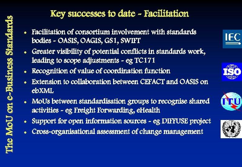The Mo. U on e-Business Standards Key successes to date - Facilitation l l