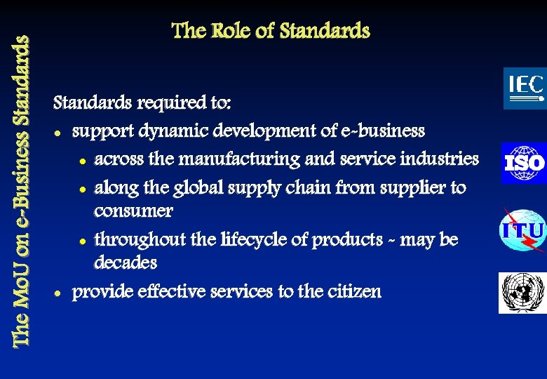 The Mo. U on e-Business Standards The Role of Standards required to: l support