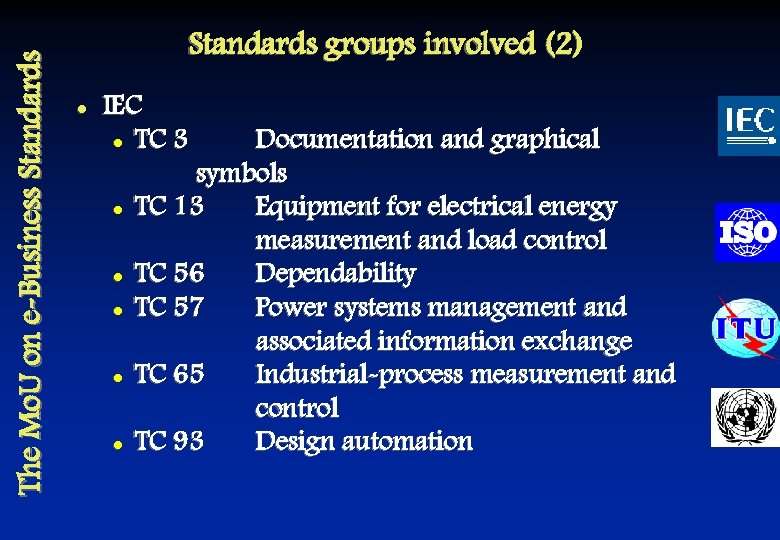 The Mo. U on e-Business Standards groups involved (2) l IEC l TC 3