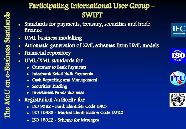 The Mo. U on e-Business Standards Participating International User Group – SWIFT l l
