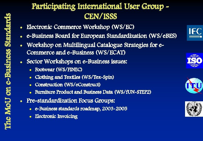 The Mo. U on e-Business Standards Participating International User Group CEN/ISSS l l Electronic