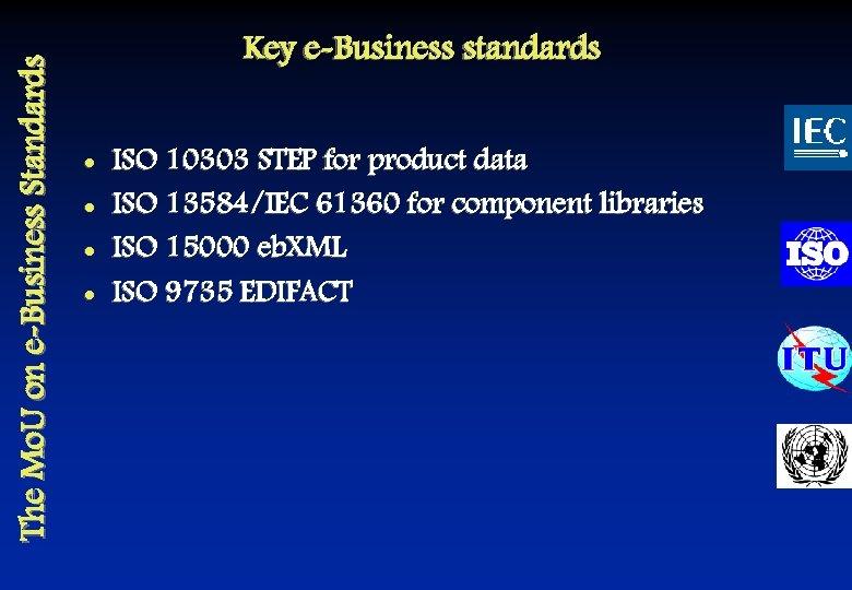 The Mo. U on e-Business Standards Key e-Business standards l l ISO 10303 STEP