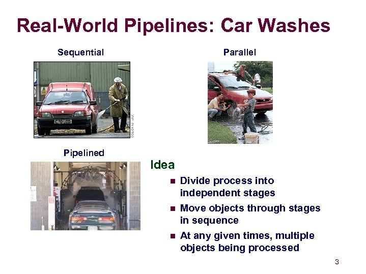 Real-World Pipelines: Car Washes Parallel Sequential Pipelined Idea n n n Divide process into