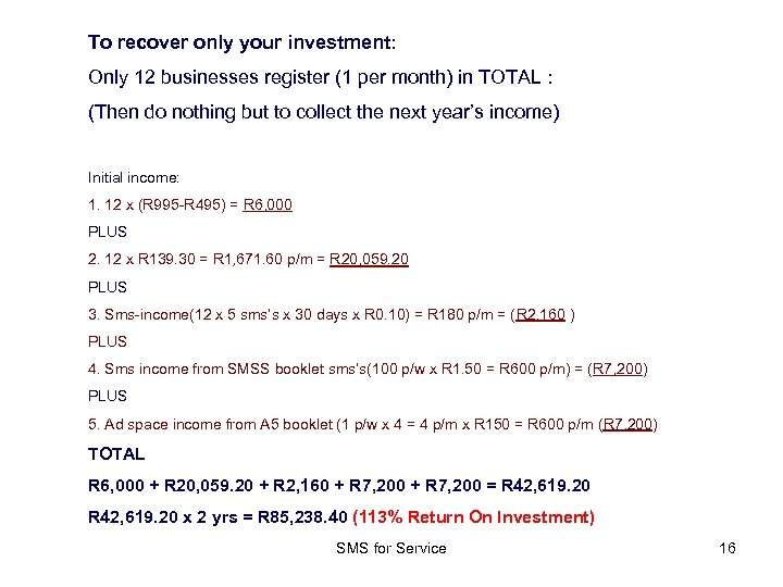 To recover only your investment: Only 12 businesses register (1 per month) in TOTAL