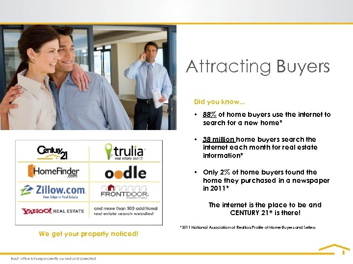 Attracting Buyers Did you know. . . • 88% of home buyers use the