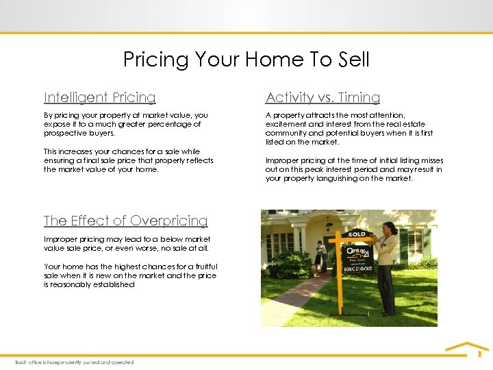 Pricing Your Home To Sell Intelligent Pricing Activity vs. Timing By pricing your property