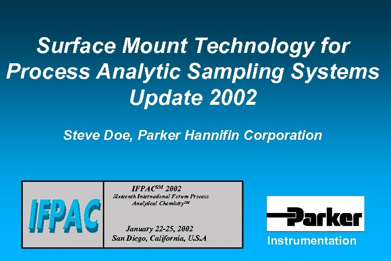 Surface Mount Technology for Process Analytic Sampling Systems Update 2002 Steve Doe, Parker Hannifin