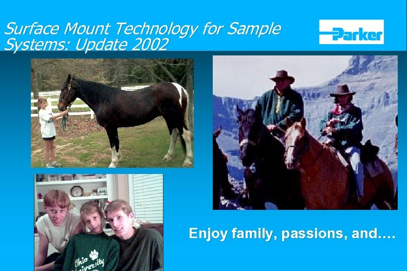 Surface Mount Technology for Sample Systems: Update 2002 Enjoy family, passions, and….